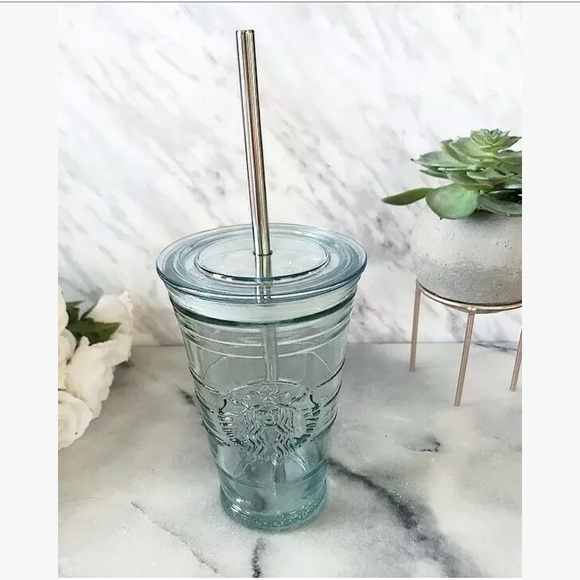 Starbucks Glass Tumbler Cold Coffee Metal Straw